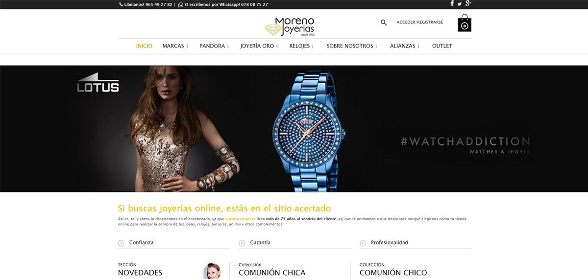 Trabajo de creación de tienda online para la Joyería Moreno.